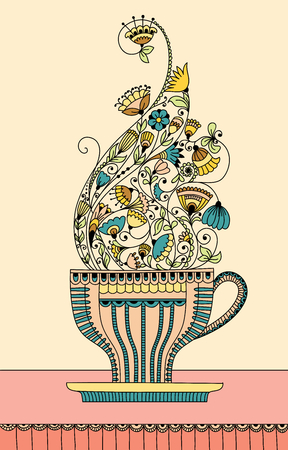 aromatic: Vector illustration with a cup of aromatic flower tea