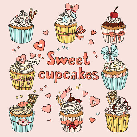 cartoon cake: Vector set with decorated sweet cupcakes