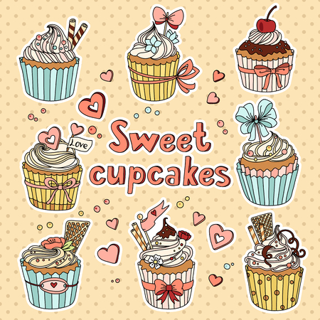 chocolate cupcakes: Vector set with decorated sweet cupcakes