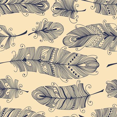 bandada pajaros: Modelo inconsútil de la vendimia con las plumas dibujadas a mano Vectores