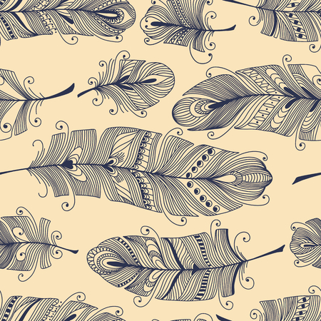 flying birds: Vintage seamless pattern with hand-drawn feathers Illustration