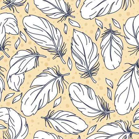 lightweight ornaments: Vintage seamless pattern with hand-drawn feathers Illustration