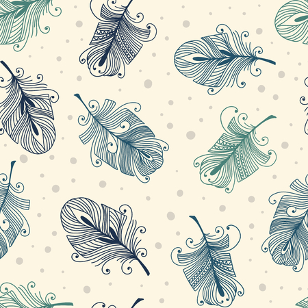 bird feathers: Vintage seamless pattern with hand-drawn feathers Illustration