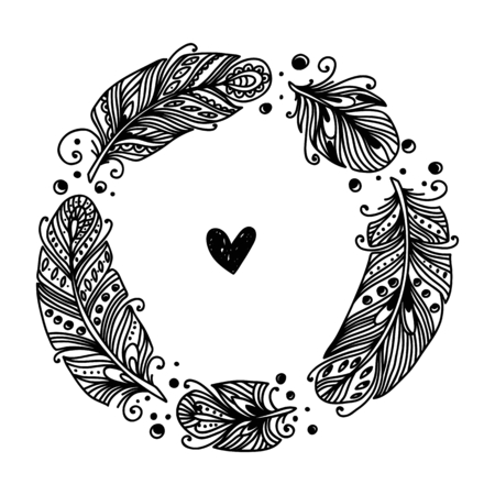 feather vector: Decorative Feather vector frame. Hand-drawn illustration