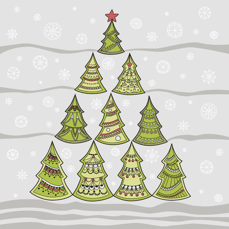 firtree: Vector illustration of Christmas fir-tree and snowflakes