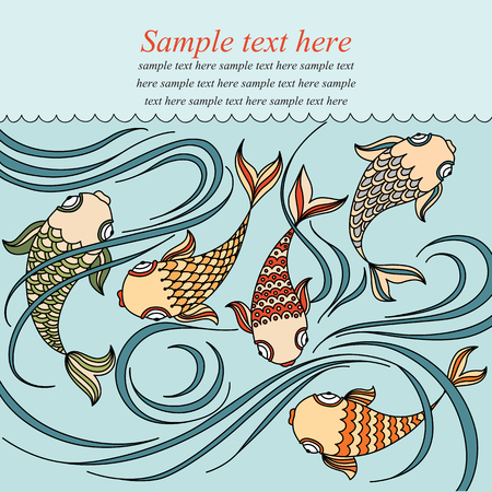 waterlily: Vector banner with floating fish in the sea, waterlily and place for your text