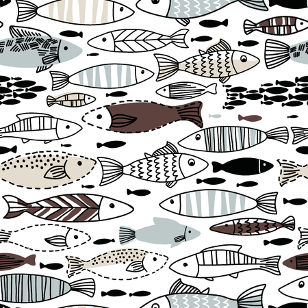 deep sea fishing: Underwater seamless pattern with fishes. Seamless pattern can be used for wallpapers, web page backgrounds