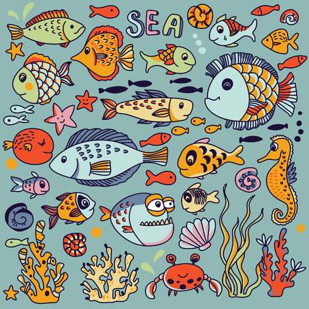 cartoon seahorse: Cartoon underwater icons set with crab, fishes, seahorse, corals and other marine elements. Seamless pattern can be used for wallpapers, web page backgrounds
