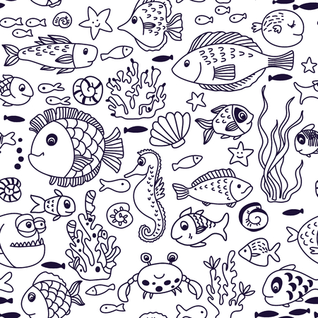 cute doodle: Cartoon underwater seamless pattern with crab, fishes, seahorse, corals and other marine elements. Seamless pattern can be used for wallpapers, web page backgrounds