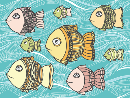 nimble: Illustration with floating fish in the sea
