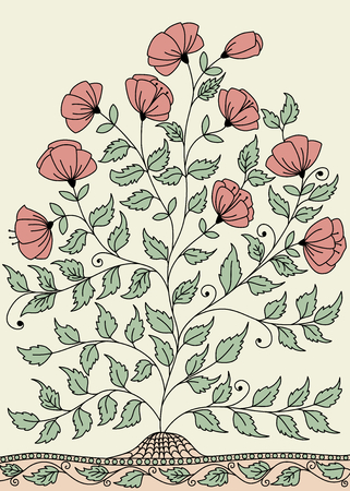 wildrose: llustration with a bush of roses Illustration
