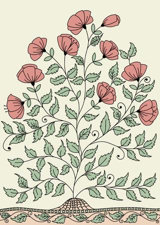 fragrant bouquet: llustration with a bush of roses Illustration