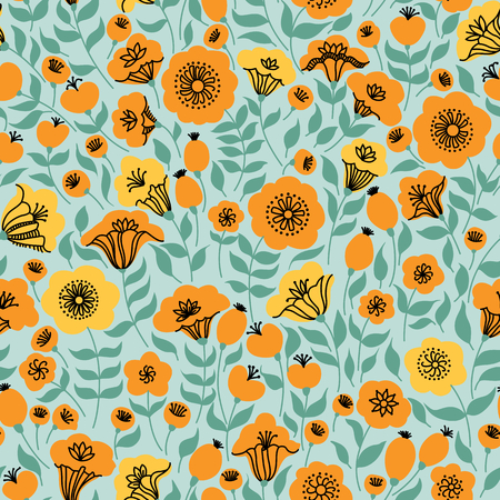 seamless elegante con i fiori gialli e rosa, illustrazione vettoriale