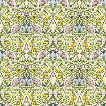 victorian textile: Floral vintage seamless pattern for retro wallpapers Illustration