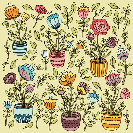 sprung: Cartoon floral set with flower pot