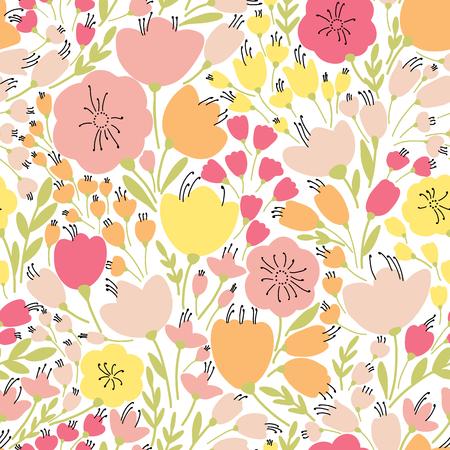 黄色とピンクの花、ベクトル図とエレガントなシームレス パターン