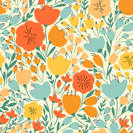 orange yellow: Elegant seamless pattern with yellow and pink flowers, vector illustration