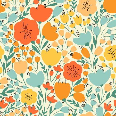 Seamless élégant avec des fleurs jaunes et roses, illustration vectorielle Banque d'images - 54754345