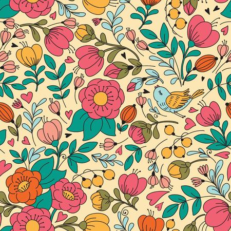 花と鳥とのシームレスなパターン ベクトル