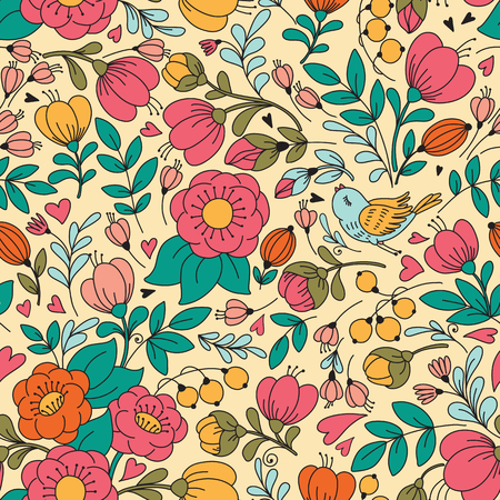 cute flowers: Vector seamless pattern with flower and birds Illustration