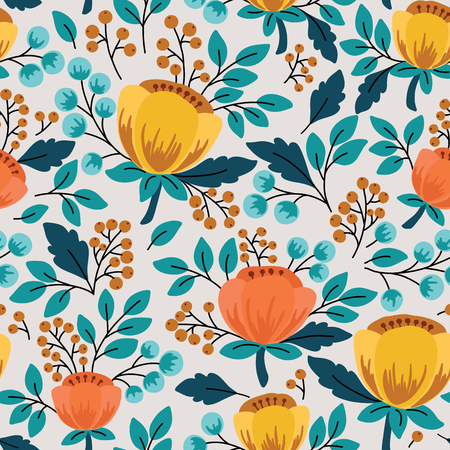 Elegant seamless pattern with flowers, vector illustration Vectores