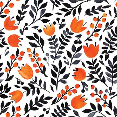 Elegant seamless pattern with flowers, vector illustration Illustration