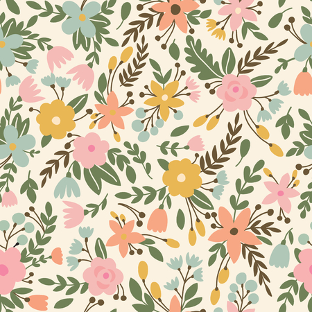 Cute seamless pattern with flowers in vector. Can be used for summer backgrounds