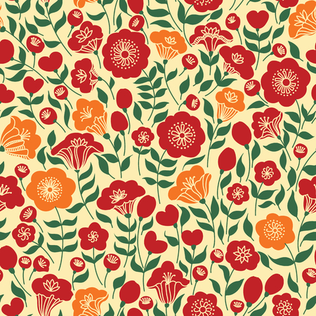 노란색과 분홍색 꽃과 우아한 원활한 패턴, 벡터 일러스트 레이 션 스톡 콘텐츠 - 54754424