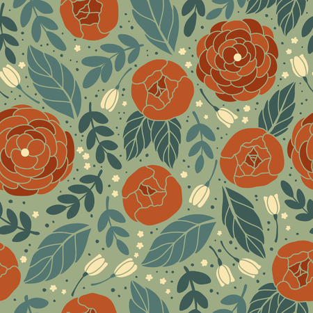 wall hanging: Vector seamless vintage pattern with flower. Can be used for desktop wallpaper or frame for a wall hanging or poster,for pattern fills, surface textures, web page backgrounds, textile and more