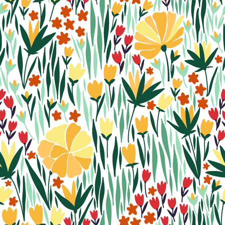 wall hanging: Vector seamless pattern with summer flower. It can be used for desktop wallpaper or frame for a wall hanging or poster,for pattern fills, surface textures, web page backgrounds, textile and more. Illustration