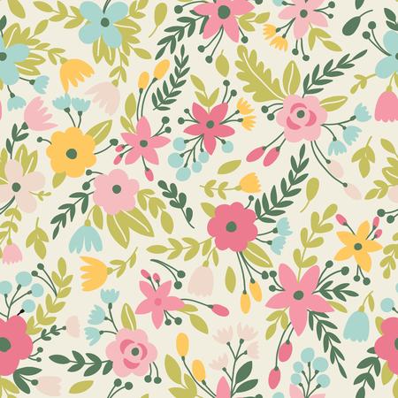 벡터 꽃과 귀여운 원활한 패턴입니다. 여름 배경에 사용할 수 있습니다