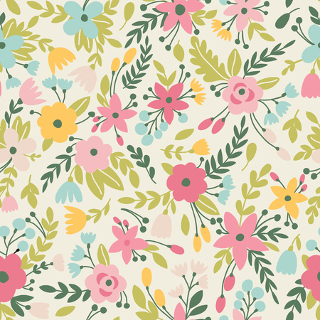 small paper: Cute seamless pattern with flowers in vector. Can be used for summer backgrounds