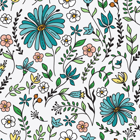 Seamless vintage pattern with camomile and flowers. Can be used for desktop wallpaper or frame for a wall hanging or poster,for pattern fills, surface textures, web page backgrounds, textile and more