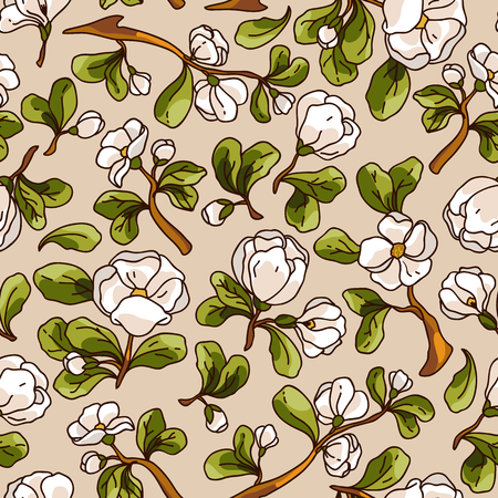apple blossom: Apple blossom seamless pattern. Beautiful vector hand drawn texture. Romantic background for web pages, wedding invitations, textile, wallpaper. Vector, Isolated on white background