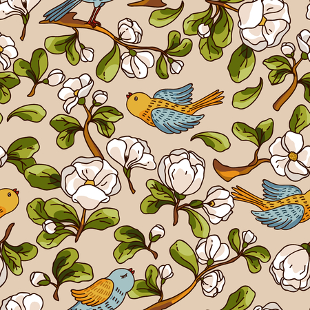 apple blossom: Vector seamless pattern with apple blossom and birds. Beautiful hand drawn texture. Romantic background for web pages, wedding invitations, textile, wallpaper. Vector, Isolated on white background