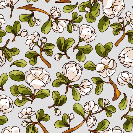 リンゴの花のシームレスなパターン。美しいベクター描画テクスチャーを手します。ロマンチックな結婚式の招待状、テキスタイル、壁紙、web ペー  イラスト・ベクター素材
