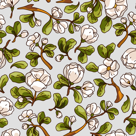 Apple blossom seamless pattern. Beautiful vector hand drawn texture. Romantic background for web pages, wedding invitations, textile, wallpaper. Vector, Isolated on white background