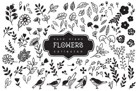 手には、ヴィンテージの花要素が描画されます。  イラスト・ベクター素材