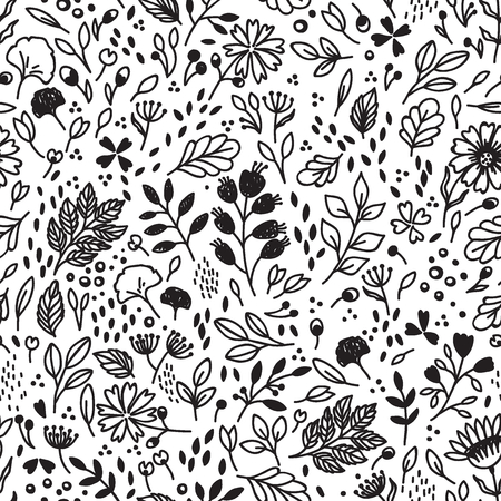 black lines: Vector seamless vintage pattern with flower. Can be used for desktop wallpaper or frame for a wall hanging or poster,for pattern fills, surface textures, web page backgrounds, textile and more.