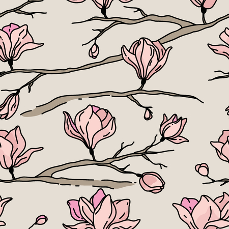 magnolia: Vector seamless pattern with flowers. Magnolia