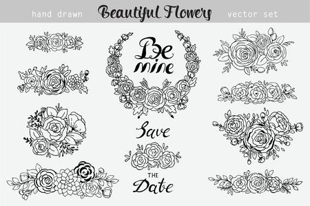 Hand getrokken vintage floral elementen. Set van bloemen, pictogrammen en decoratieve elementen. Kan voor huwelijksuitnodiging of vakantiedecoratie, Web-pagina en meer voor uw ontwerp worden gebruikt