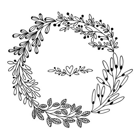 Belle carte avec couronne de fleurs. Vector illustration, peut être utilisé comme carte de voeux, carte d'invitation pour mariage, anniversaire et d'autres vacances et mignon automne blanc. Banque d'images - 54755116