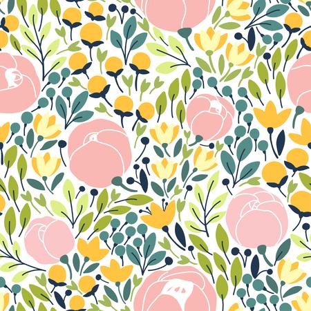 ピンクの花とエレガントなシームレス パターン。ベクトル図