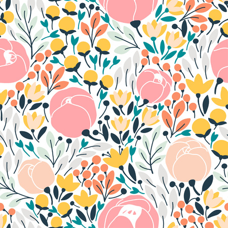 Elegant seamless pattern with pink flowers. Vector illustration