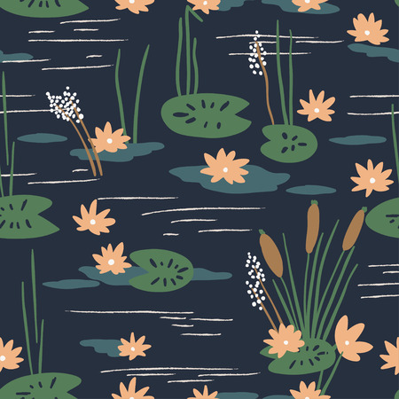 water lilies: Floral seamless pattern with water lilies Illustration