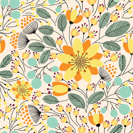flower arrangement: Elegant seamless pattern with flowers, vector illustration Illustration