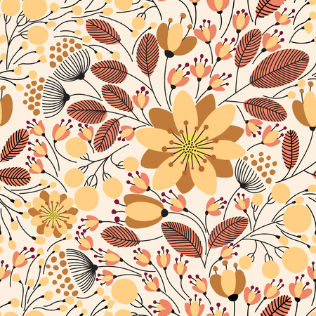 Elegant seamless pattern with flowers, vector illustration Illustration