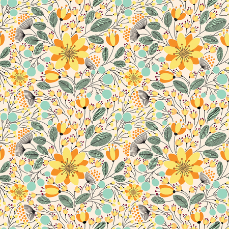 Elegant seamless pattern with flowers, vector illustration Ilustrace