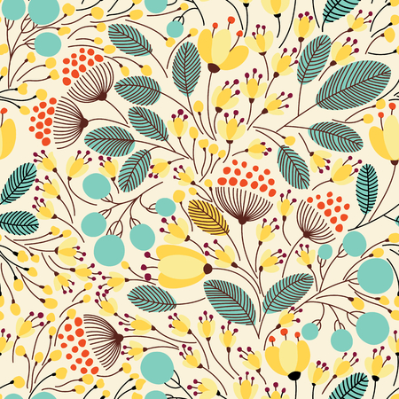 floral decoration: Elegant seamless pattern with flowers, vector illustration Illustration