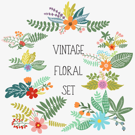 abstract flowers: Vector set with vintage flowers
